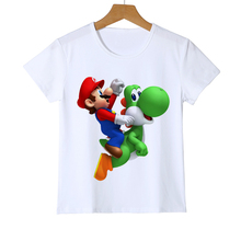 Boy Girl Baby Cartoon Super mario Youths T-Shirt Fashion Anime Mario Design Printed Kid T Shirt Hipster Cool Tops Tee Z37-8