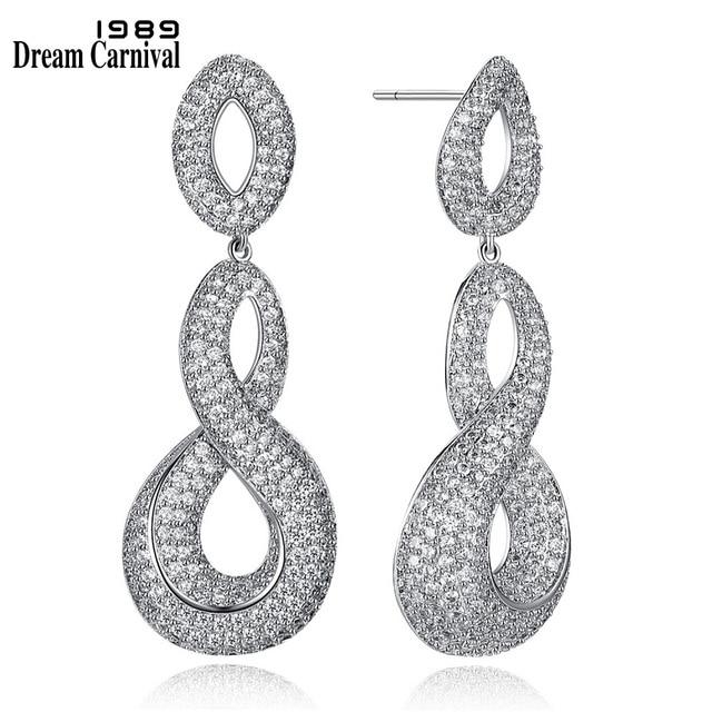 DreamCarnival 1989 New Bridal Accessories Infinity Design White Clear Cubic Zirconia Parure Bijoux Earrings for women SE07069