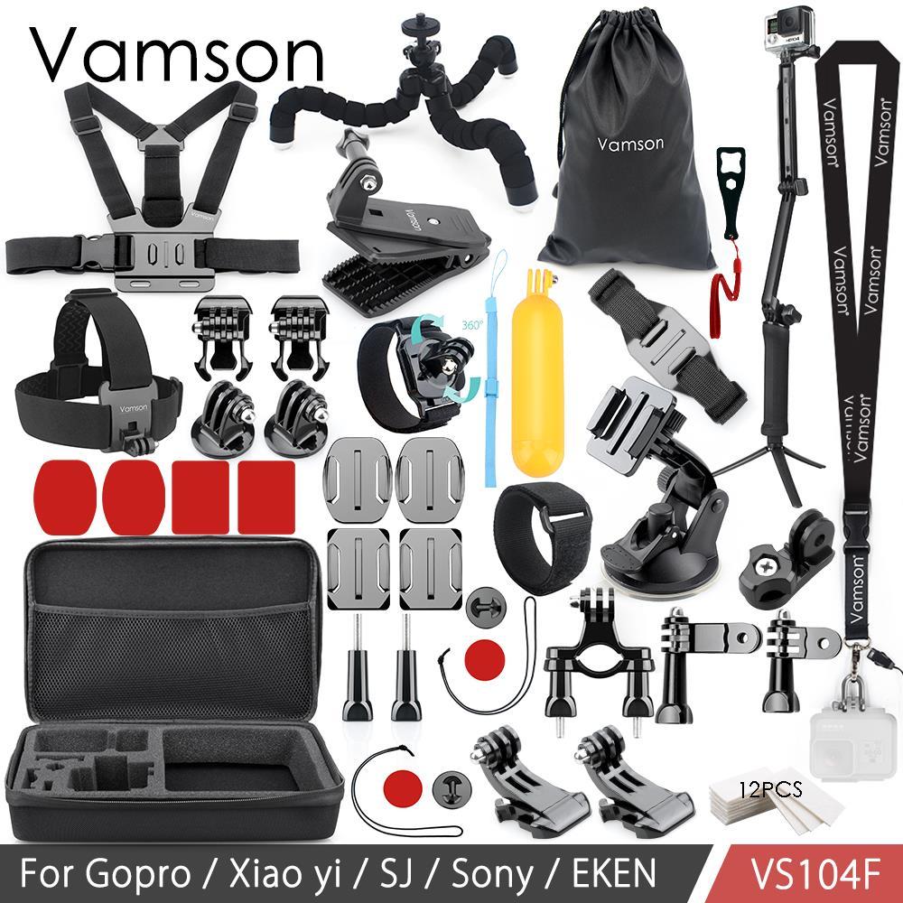 Vamson For Gopro Accessories Set for Eken H9R For Gopro Hero 6 5 4S Mount Selfie stick Tripod For Yi 4K for Mijia Kit VP104F