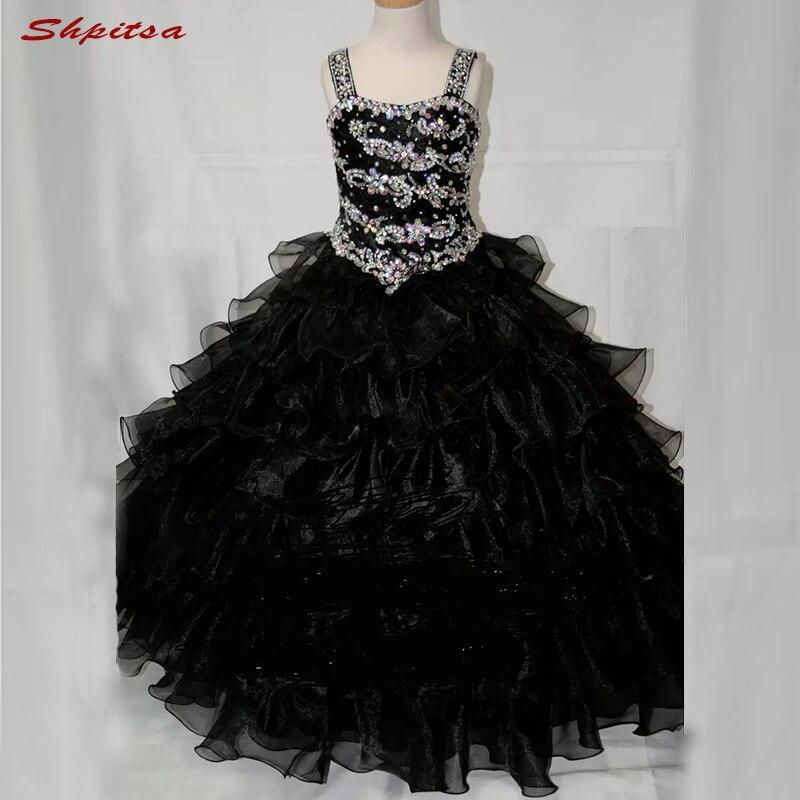 Robes de fille de fleur noire pour la fête de mariage 2018 robes de reconstitution historique de première Communion pour les robes de fille de fleur de filles