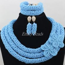 Light Blue Costume African Jewelry Set Nigerian Wedding African Crystal Beads Necklace Jewelry Set Free Shipping AIJ198