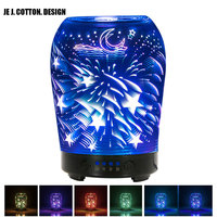 3D Glass Aroma Diffusers Essential Oil Diffuser Air Humidifier Led Night Lights for Home Ultrasonic Humidifiers 100ML AC100 240V