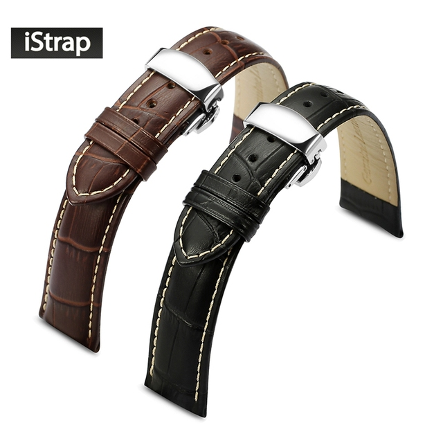 iStrap Soft  Genuine Leather Bracelet for Breitling Watch Band Watch Strap for Panerai  Hours Deployment Buckle Watchband