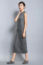 adohon womens spring Cashmere Dresses and summer women knitted Long Oneck High Quality Female solid sweaters Sleeveless