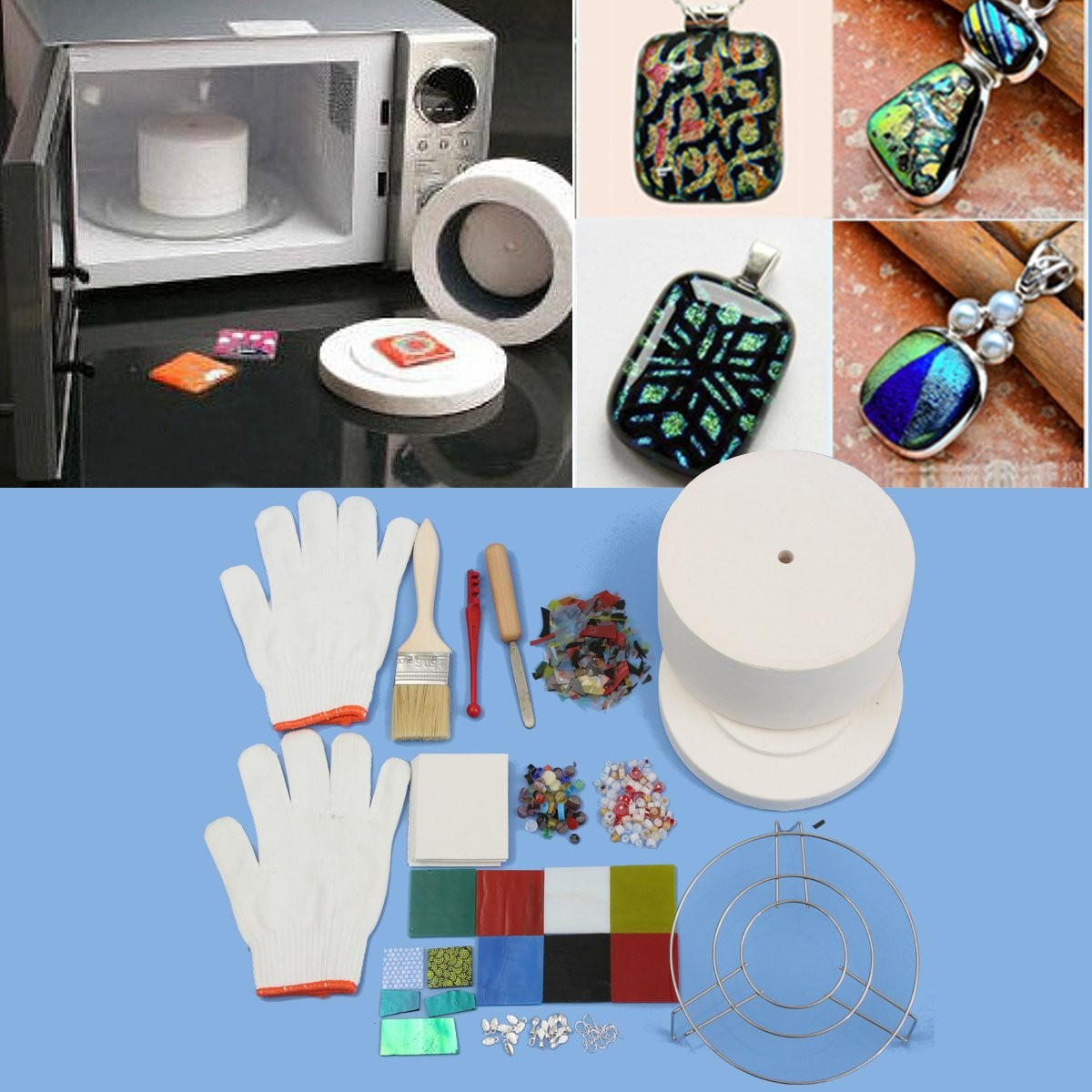 15pcs Set Professional Microwave Kiln Kit Large Glass Fusing Kit DIY Jewellery Glass Fusing Art Fuseworks