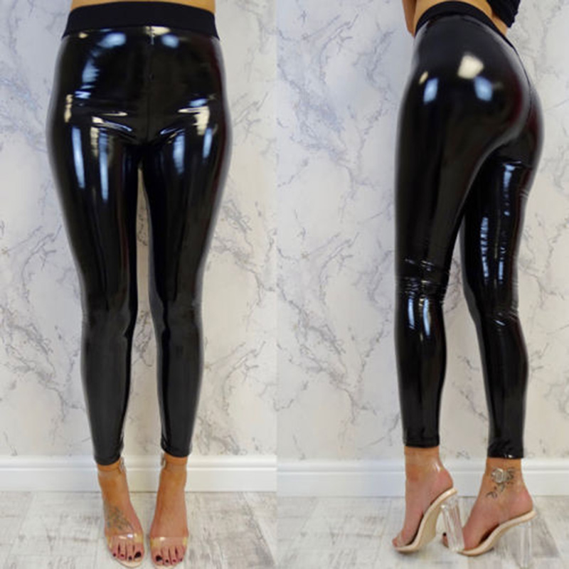 Womens Sexy Black Pants Slim Soft Strethcy Shiny Wet Look Faux Leather Ladies Long Trousers H9