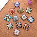 24X  15mm Decorative pattern a square Handmade Photo Glass Cabochons & Glass Dome Cover Pendant Cameo Settings
