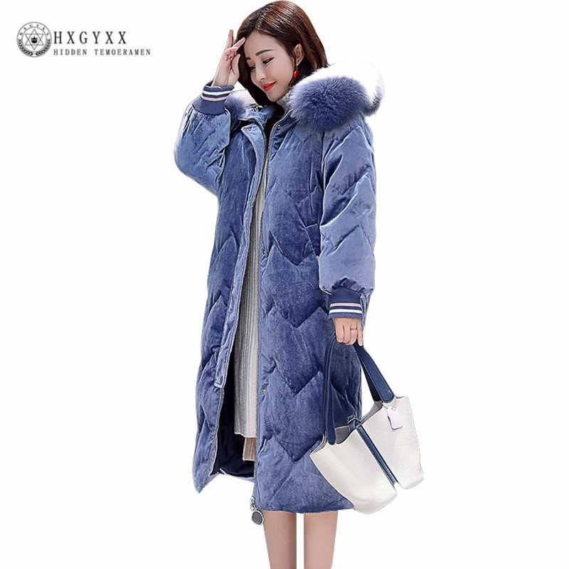 2019 Winter Women   Parka   Plus Size Hooded Velvet Fur Collar Quilted Coat Long Puffer Jacket Thick Warm Cotton Outwear Okd525