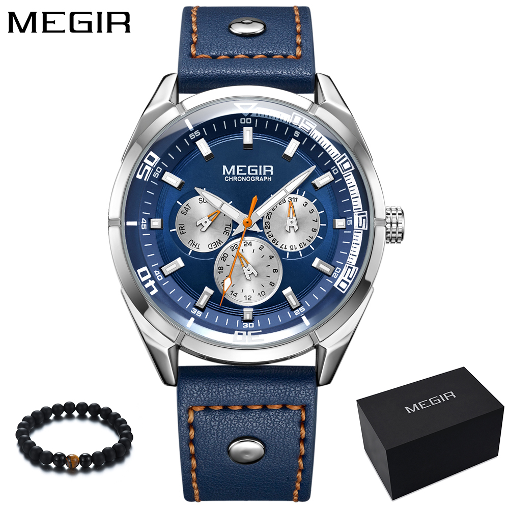 лучшая цена MEGIR 2018 New Blue Watch Men Luxury Top Brand Leather Quartz Watch Calendar Week Display Business Sport Wristwatch reloj hombre