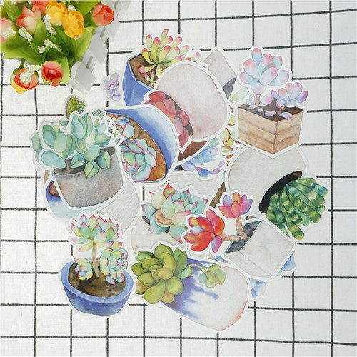 30Pcs Pack Fresh Plants Vintage Luminous Succulents Greeting Card Postcard Birthday Gift Message Envelope Stickers