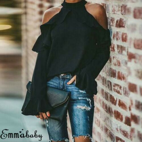 Women Summer  Tops Long Sleeve Solid Plus Size Sexy Cold Shoulder T Shirt