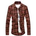 Plaid Shirts Men Spring Full Sleeve Slim Fitness High Quality Men Turn-Down Collar Casual Shirts Dress Tops Business Shirts 2XL