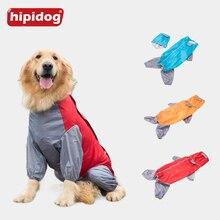 Hipidog Large Dog Raincoat Stitching Hoody Waterproof Big Rain Slicker Clothes Overalls for Labrador Golden Retriever
