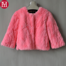 Women Real Natural Rex Rabbit Fur Coat Fashion Short Style Rex Rabbit Fur Jacket Winter Warm Soft Real Rex Rabbit Fur Overcoat cheap Real Fur Single Breasted Double-faced Fur REGULAR Nine Quarter YH-07081 O-Neck Natural Color Slim Thick (Winter) Solid