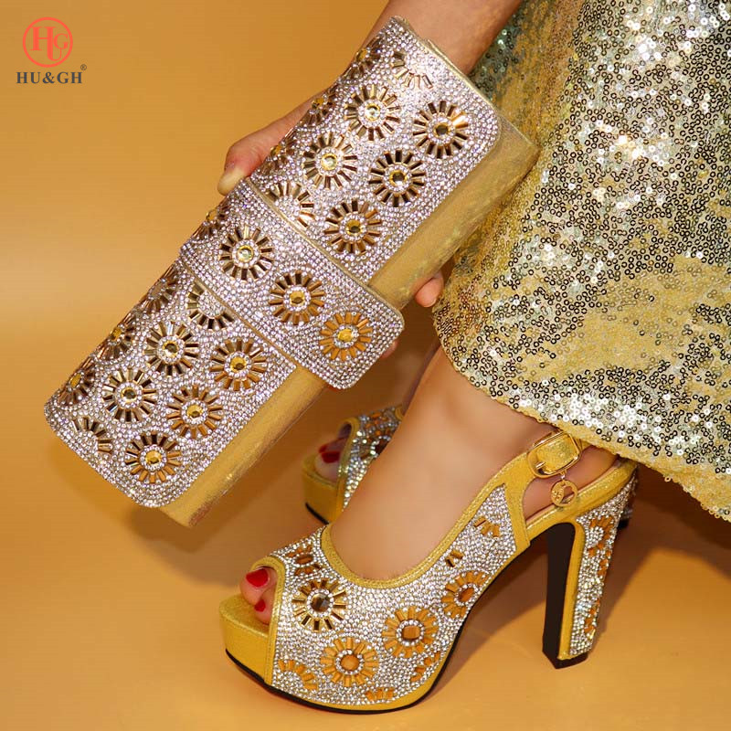 2018 Gold African shoes and bag set Italian shoe with matching bag best selling ladies matching