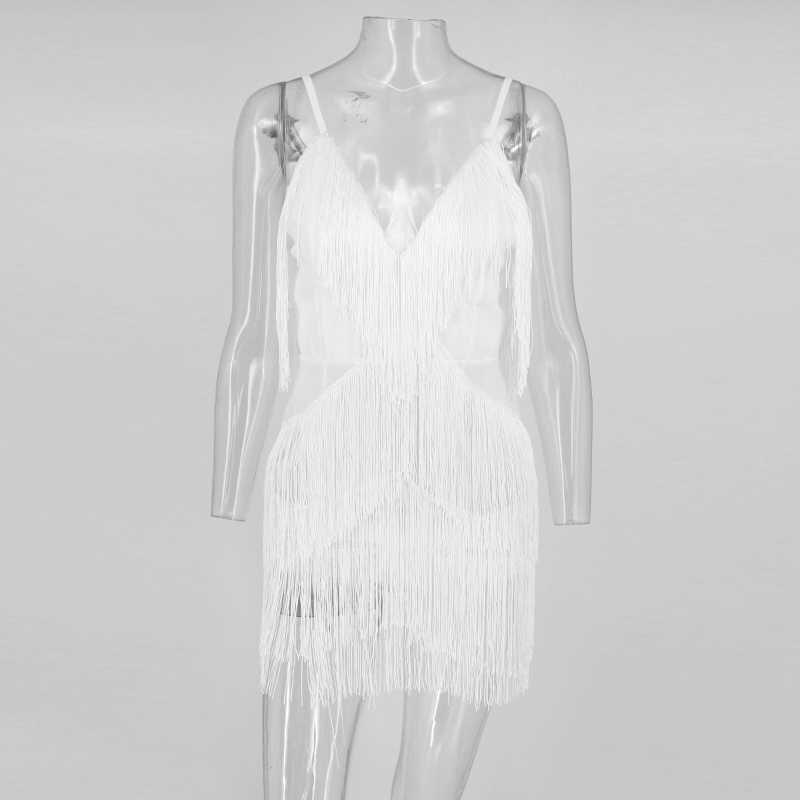 Tobinoone/черное однотонное тонкое женское платье без рукавов с кисточками, 2018, с глубоким v-образным вырезом, Многоуровневое, с бахромой, летнее сексуальное обтягивающее платье вечерние платья