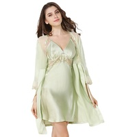 100% Silk Satin Solid Women Robe & Gown Set Pink / Light green /Red 3 Solid Colors Women's Bathrobe with Sexy Nightdress sp0070