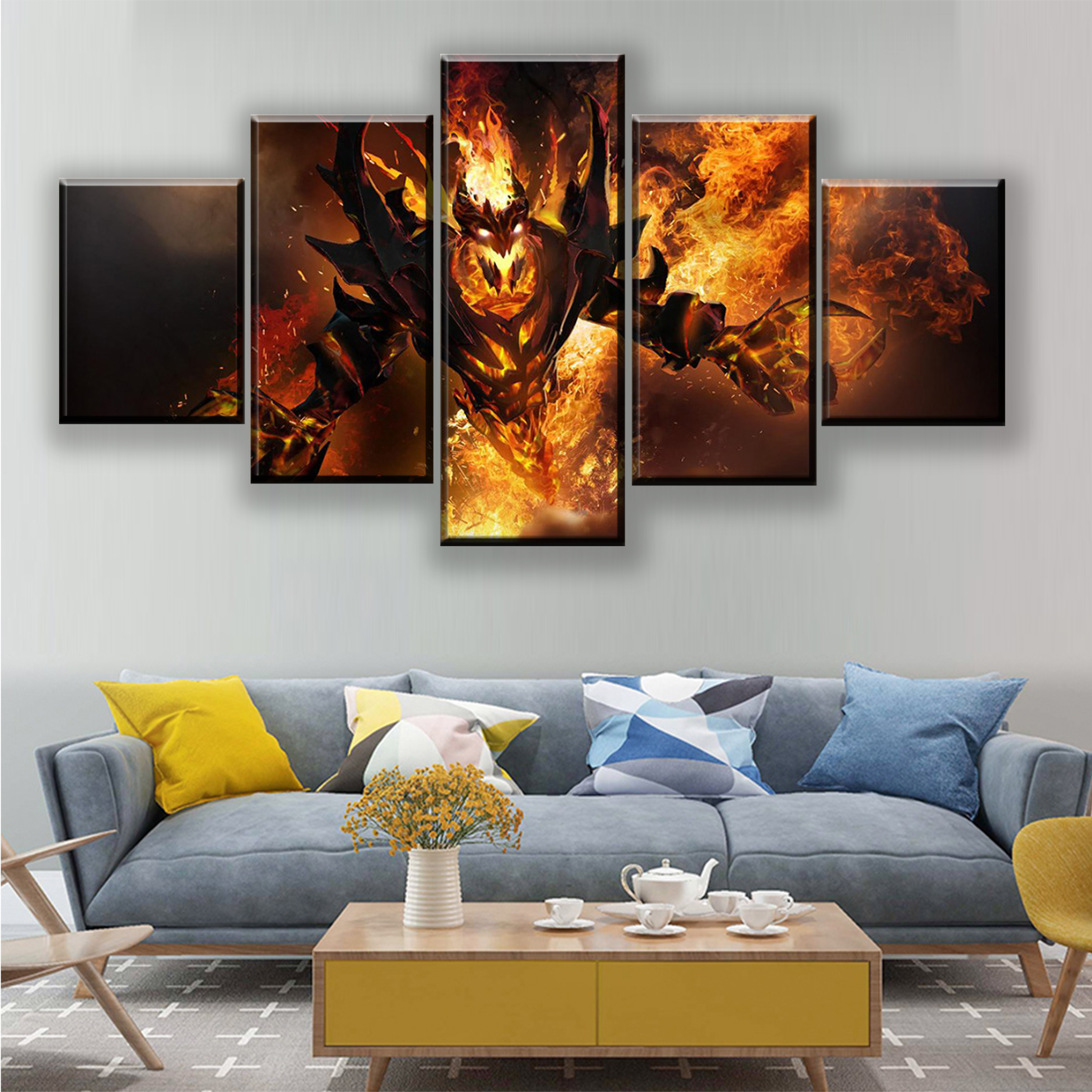 5 Pieces DotA 2 Fire Heroes Canvas Print Abstract Painting Game Poster Modern Wall Artwork Home Decorative Boys Room Unique Gift in Painting Calligraphy from Home Garden