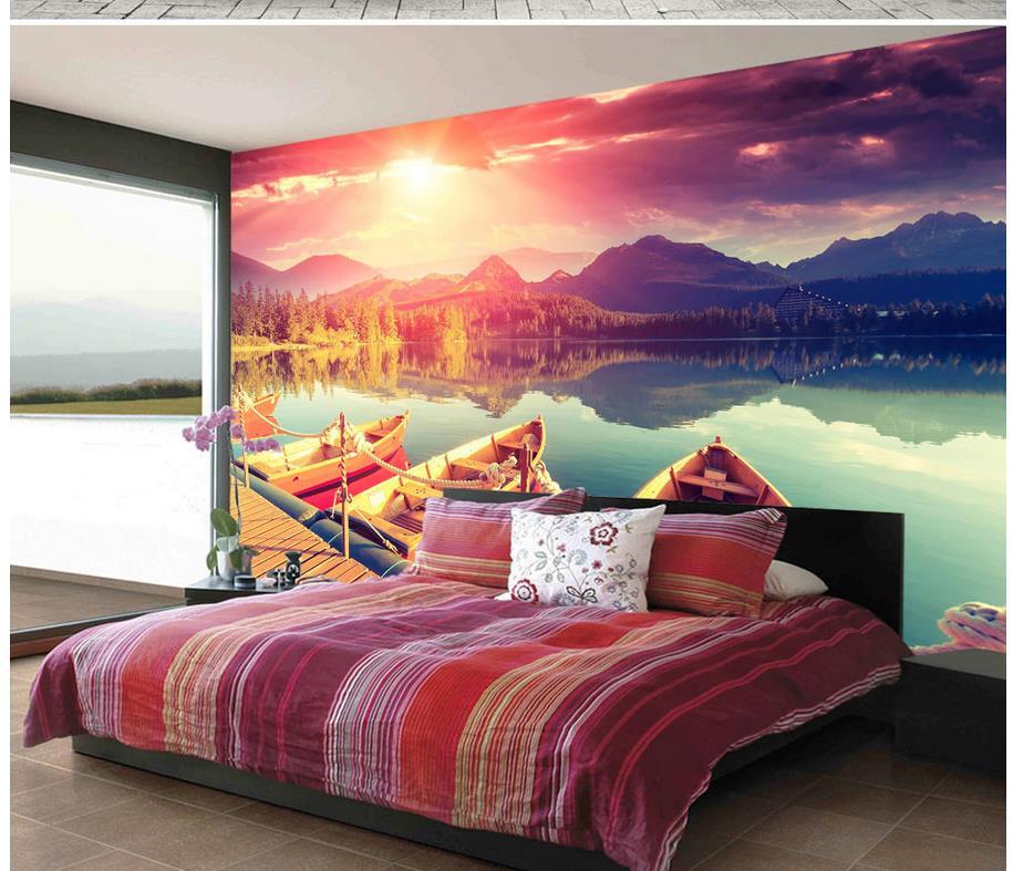 Custom any size beautiful sun reflection lake boat backdrop custom 3d photo wallpapers for living room