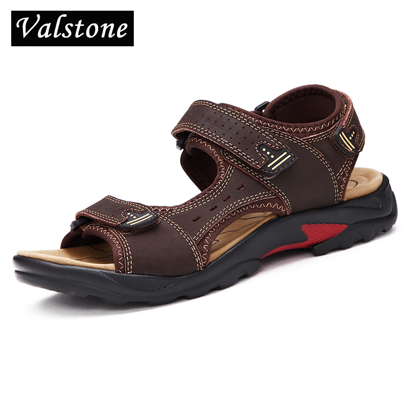 Valstone Mens sandals Luxury Brand Genuine leather Summer mens footwear 2018 male slippers Beach shoes men open toe sandalen