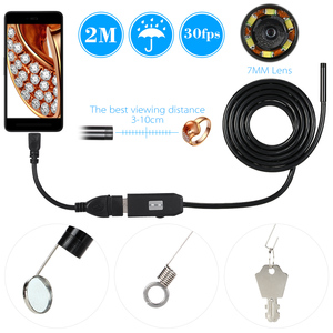 Image 2 - USB 내시경 0.3MP Borescope 7mm 2M 케이블 프로브 방수 검사 Borescope 6 led USB 와이어 스네이크 튜브 카메라