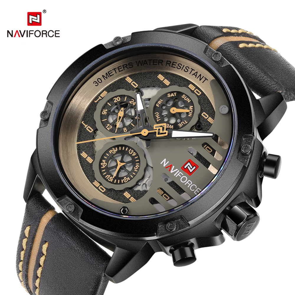 NAVIFORCE Top Brand Mens Quartz Watch Leather Strap Creative Watch Hand Date Display Male Clock Waterproof Relogio Masculino new chenxi brand dial male clock hours hand date black leather straps mens quartz wrist watch 3atm waterproof wristwatches man