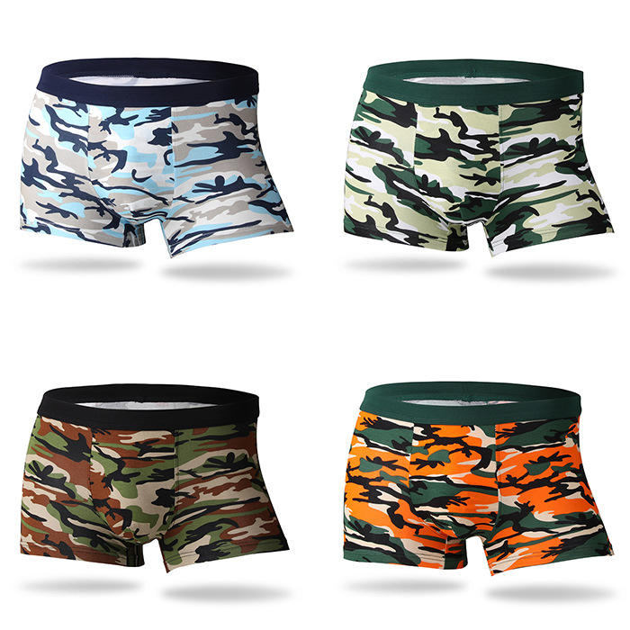 Bamboo Fiber Underwear Men Brand 2018 Camouflage 4Pcs/lot Male Panties Fashion Sexy Mens Boxer Shorts Soft Breathable Underpants