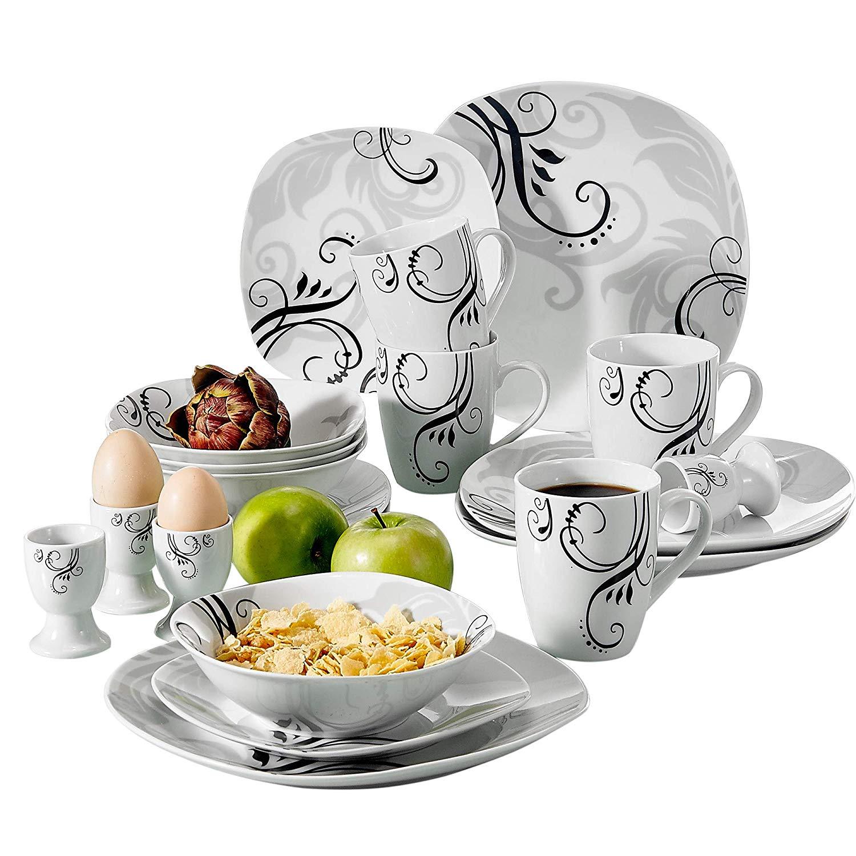 Ensemble de vaisselle en porcelaine VEWEET ZOEY 20 pièces ensemble de vaisselle à motif décalque avec assiette à dîner, assiette à Dessert, bol, tasse, coquetier