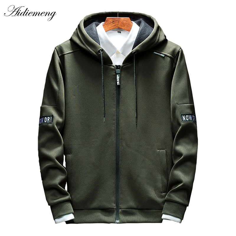 Image 1 - Hoodies Men 2019 Autumn Casual Men Zipper Hoodies Sweatshirts Cotton Thick Top Fashion Men Hooded Jackets Male Coat Hoody-in Hoodies & Sweatshirts from Men's Clothing