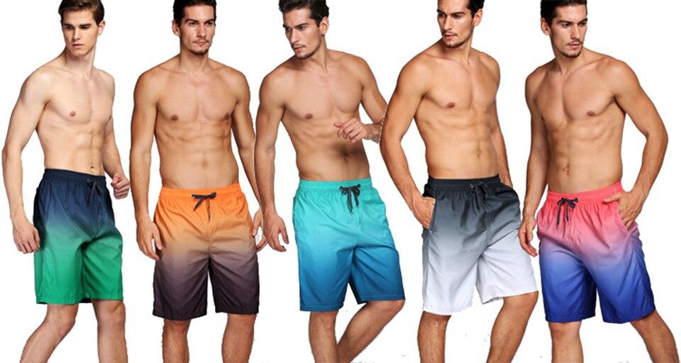 Shorts masculino de secagem rápida, gradiente, praia,