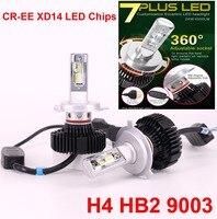 1 компл. H4 9003 25 Вт 5000LM 7 PLUS светодиодный фар CR XD14 чипы G7 обновлен Fanless все в Один светодиодный H7 H8/H9/H11 9005/06 9012 лампы 6 К
