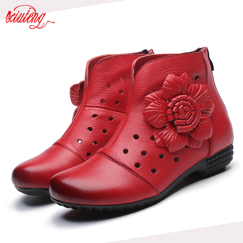 Xiuteng Summer High Quality Genuine Leather Women Boots Shoes Platform Thick Heels Round Toes Cut Out Hole Flower Ankle Boots xiuteng new summer thick high heels sandals genuine leather women shoes flower personality leisure women handmade sandals sapato