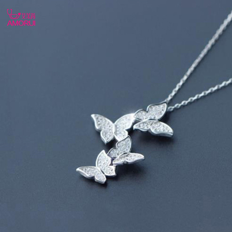 AMORUI Women Fashion Butterfly 925 Silver Pendant Necklace Romantic AAA Zircon Silver Necklace Anniversary Gift Jewelry