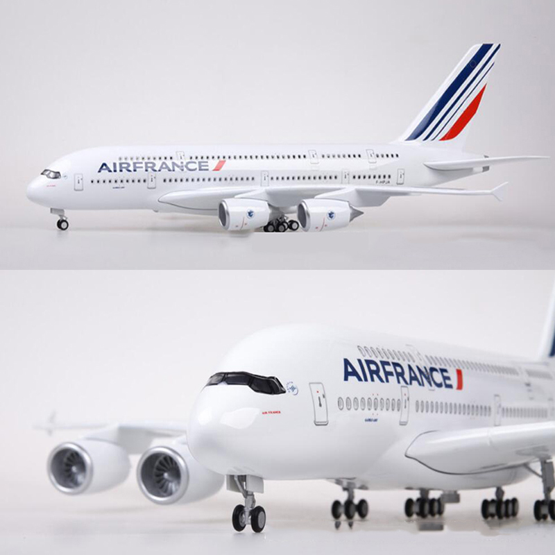 1 160 Scale 50 5CM Airplane Airbus A380 France Airline Model W Light and Wheel Diecast