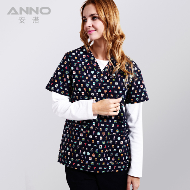 ANNO Medical Clothing Cotton Blue Medical Scrubs Short Sleeves ...