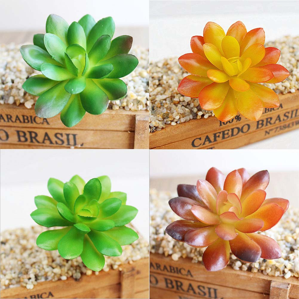 Succulents Artificial Plants Rounded Lotus With Bud Meaty Plant Simulation Potted Landscape Artificial Flower Home Decoration