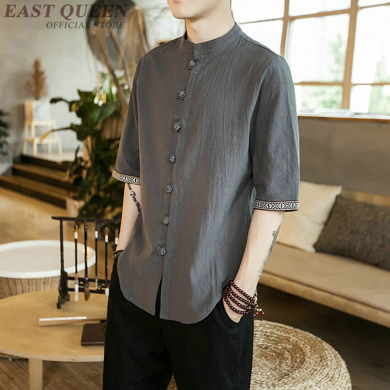 Traditional chinese shirt casual male tops shirts 2018 traditional chinese clothing solid casual male tops shirts AA3814 Y A