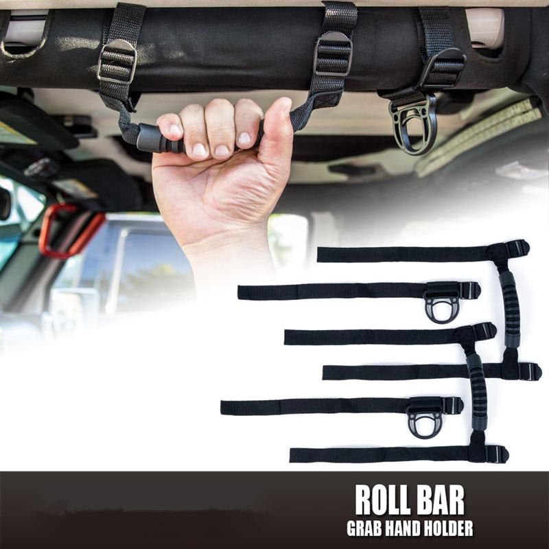 4pcs/set New Black Roof Grab Handles Roll Bar Grip Handle Hand Hold Adjustable for 2007-2015 Jeep Wrangler JK 4Doors Car Styling