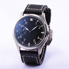 Мода 46 мм Парнис 6498 Рука Обмотки Черный Циферблат Белой цифровой Наручные Часы Мужчины