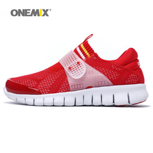 ONEMIX New Woman Running Shoes Women Breathable Athletic Trainers Red Zapatillas Sports Shoe Outdoor Walking Sneakers Free Ship