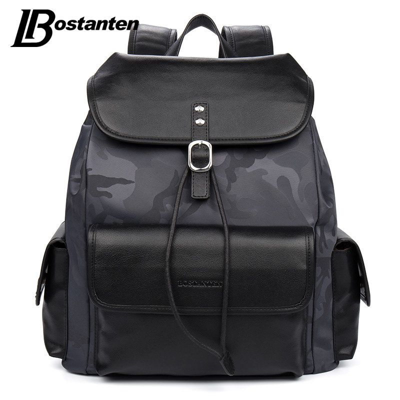 BOSTANTEN Preppy Style Camouflage Canvas Men Backpacks Computer Big Capacity Teenager School Shoulder Bags Designer Rucksack