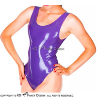 Purple Sexy Sleeveless Latex Swimsuit Rubber Body Suit Catsuit Bodysuit Zentai LTY 0093