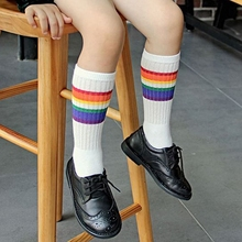Child football socks striped colored rainbow knee socks cotton school white long sock for k