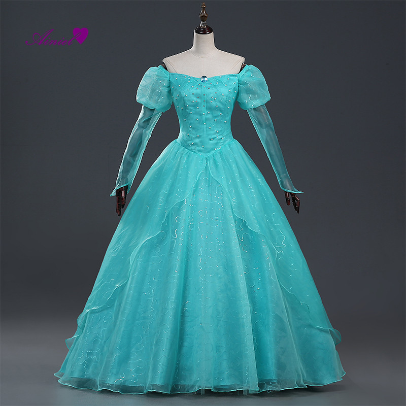 Ainiel Custom made Movie The Little Mermaid Princess Ariel Dress Mermaid Cosplay Costume For Women And Girls Halloween Party princess ariel dress halloween costumes fancy the little mermaid ariel cosplay costume mermaid costume green party dress