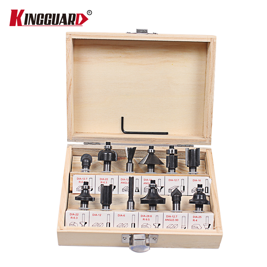 KINGGUARD 8mm Router Bit Set Shank Tungsten Carbide Rotary Tool With Wood Case Box For Woodworking Cutting Tools 12Pcs 1 4 x 3 8 cutting core box router bit tool blue silver tone