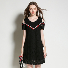 2017 New Summer Women Plus Size Lace Off Shoulder Patchwork Dresses Elegant Black Casual Lady A-Line Dress Woman Clothing M-5XL
