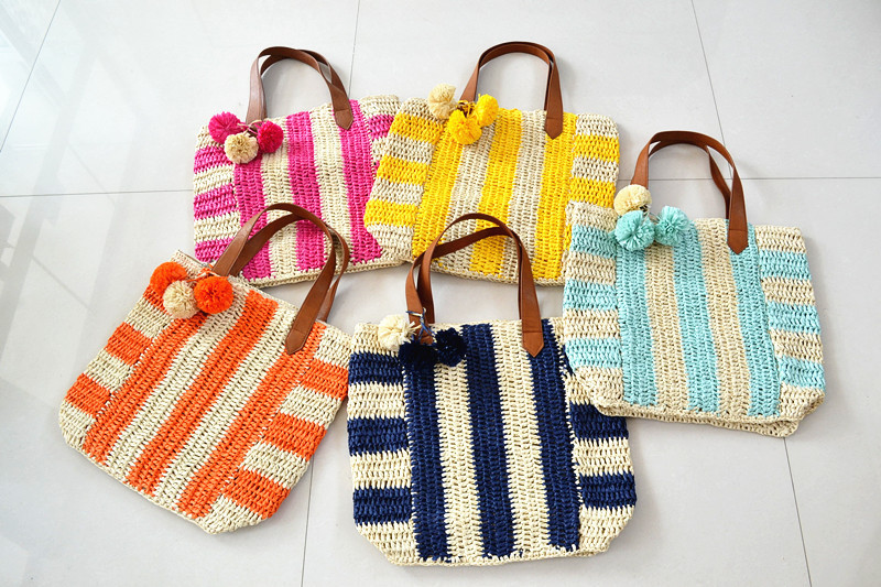 Women's Bags 46*38cm Very Big Striped Straw Bag Beach Travel Holiday Crochet Bag French Ball Flag Bag A2845 Luggage & Bags