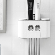 Automatic Toothpaste Dispenser Wall Mounted Toothbrush Holder Squeezer Set Wash Cup Storage Bathroom Accessories