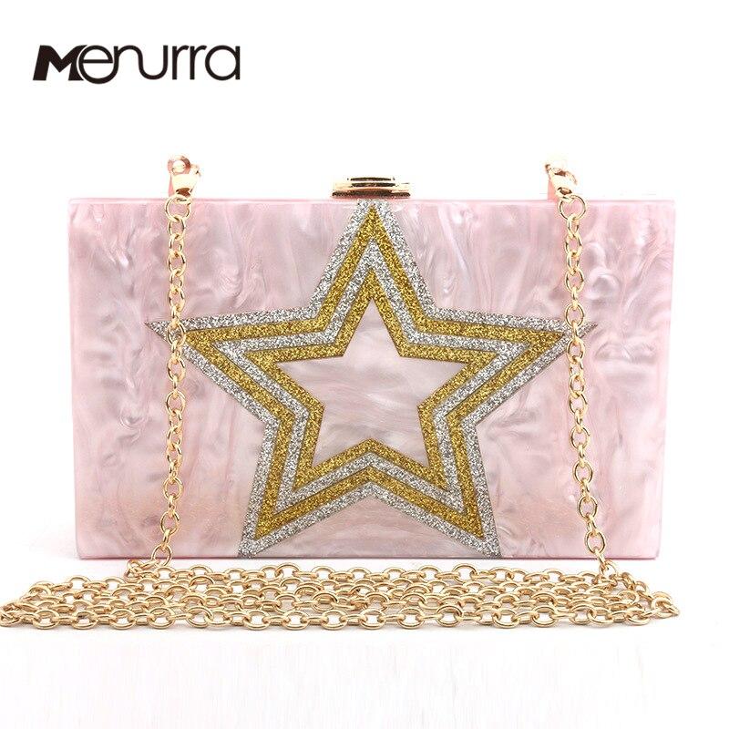 Women Star Acrylic Purse Box Clutch Handbag Evening Bags Gold Chain Shoulder Bag For Party Acrylic Flap Box Bags Wedding Bride box clutch purse