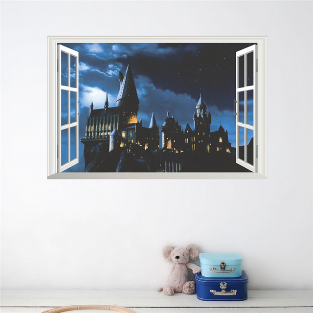 3d Window Hogwarts School Wall Stickers Bedroom Home Decor Harry